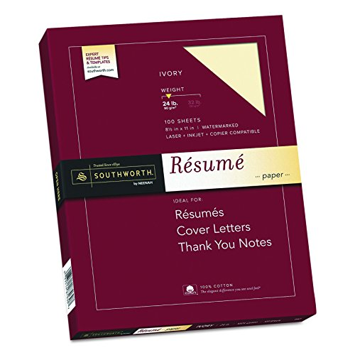 Southworth Exceptional Resume Paper, 100% Cotton, 24 lb, Ivory, 100 Count (R14ICF) ()