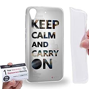 Case88 [HTC Desire 626 / 626s / 626G] Gel TPU Carcasa/Funda & Tarjeta de garantía - Art Life Signals Keep Calm And Carry On Art2542