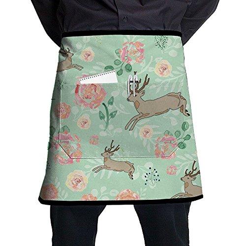 Kjiurhfyheuij Half Short Aprons Deer Waist Apron With Pockets Kitchen Restaurant For Women Men Server ()