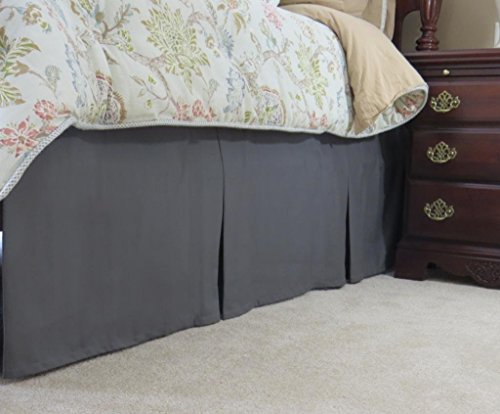 Bedskirt Dust Ruffle (SRP Bedding Real 450 Thread Count Split Corner Bed Skirt / Dust Ruffle California King/ Cal King Size Solid Charcoal Gray 18