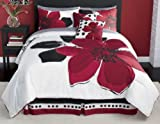 12 Pieces MARISOL Red Black White Comforter Bed-in-a-bag Set QUEEN Size Bedding+Sheets+Accent Pillows