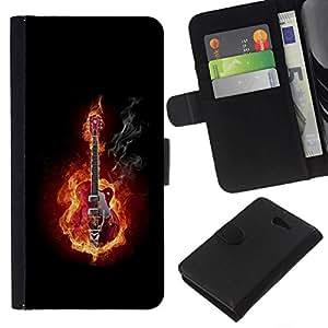 NEECELL GIFT forCITY // Billetera de cuero Caso Cubierta de protección Carcasa / Leather Wallet Case for Sony Xperia M2 // GUITARRA EN FUEGO Y HUMO