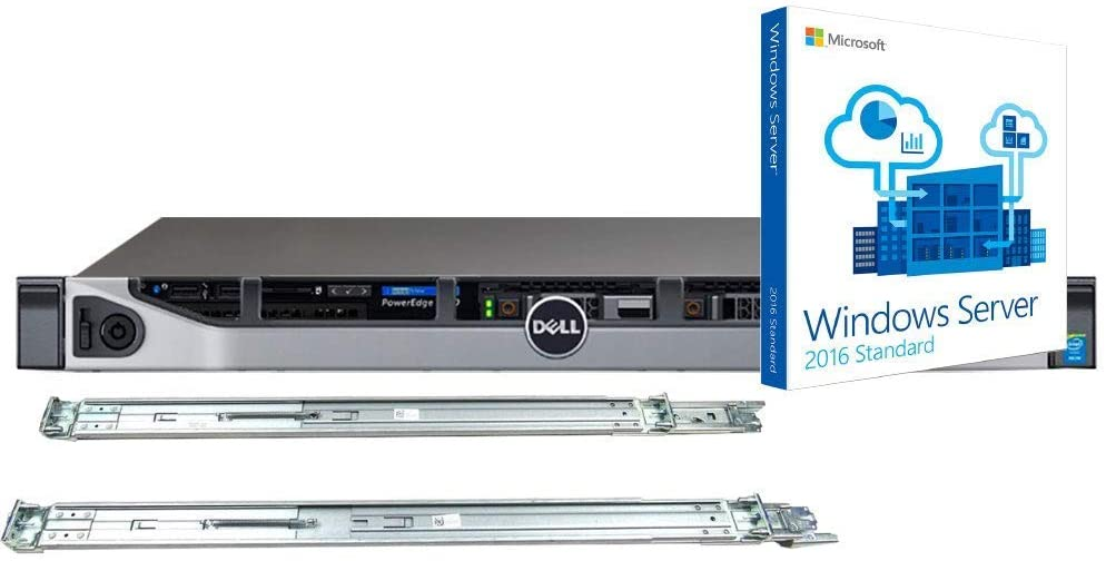 Dell PowerEdge R630 Server Bundle with 2 x Intel Xeon E5-2620 v4 8-Core 2.1GHz CPU, 64GB DDR4 RAM, 7.68TB SSD, RAID, Rail Kit, Windows Server 2016 OS (Renewed)
