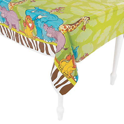 (Fun Express 2 Count Zoo Adventure Tablecloth Plastic 54