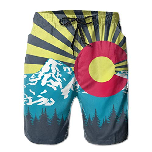 Mens 3D Printed Funny Swim Trunks Quick Dry Beachwear Sports Running Swim Board Shorts Mesh Lining - Colorado Flag