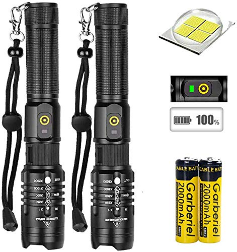 Garberiel Flashlight 2 PACK Super Bright XHP50 LED USB Rechargeable 18650 Flashlight Zoomable Torch 18650 Battery & Charger