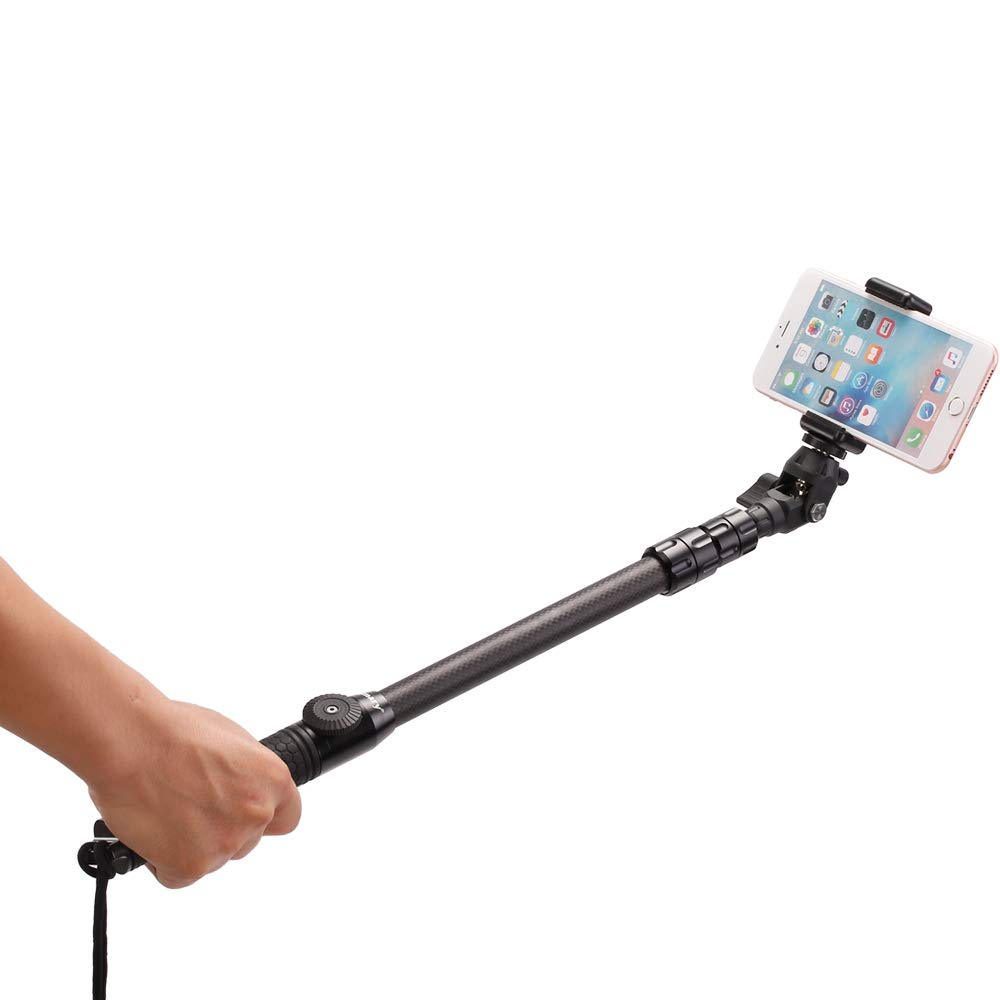 Jmary 360° Carbon Fiber Spin Monopod Selfie Stick for All GoPro Action Cameras + Free Universal Mobile Holder & Shutter Remote Control. by Jmary