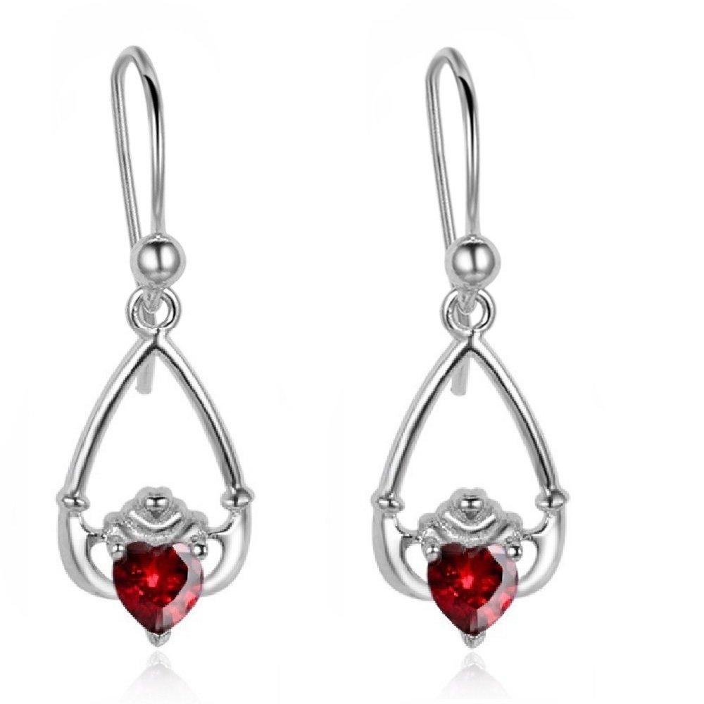 Sterling Silver Heart Shape Garnet Dangle Claddagh Earrings