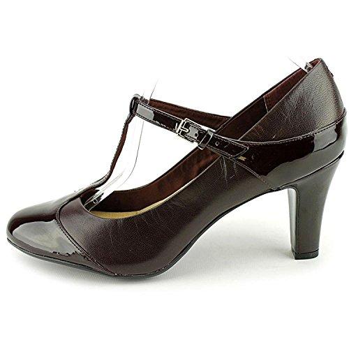 Giani Bernini Womens Vineza Leather Cap Toe T-Strap Mary, Brown/Black, Size 12.0 (Brown Multi Leather Pumps)
