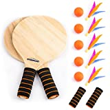 Overmont Game Set Beach Paddle Set with Wooden Racket Beachball Badminton Racquet Cricket Ball shuttlecock game and Family Training Kids Children's Office Outdoor Sports
