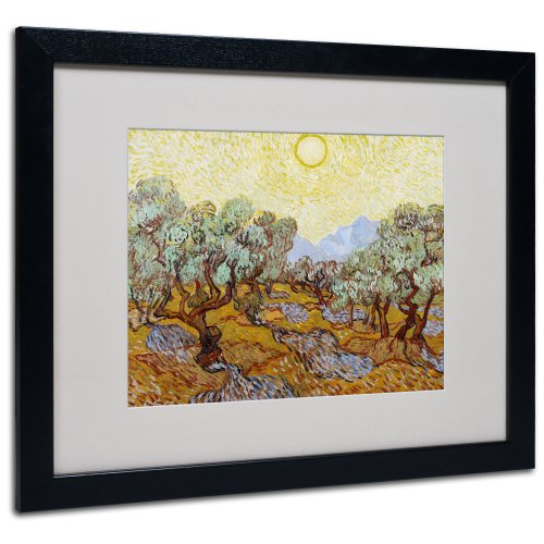 Olive Trees 1889 Canvas Wall Art by Vincent van Gogh with Black Frame, 16 by 20-Inch