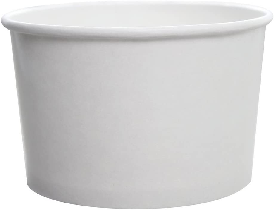 Karat CKDP20W, 20-Ounce White Paper Cold And Hot Food Storage Container with Plastic Flat Lid, Dessert Ice-Cream Yogurt Soup Containers with Matching Covers (50)