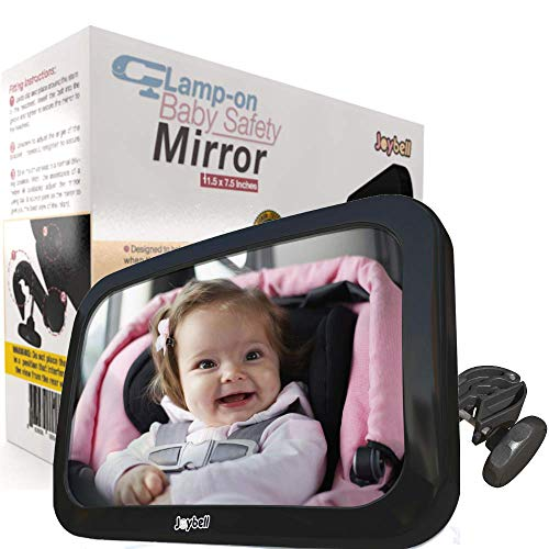 SAFEST | Clamps on, NO WEAK Straps! | Back Seat Baby Car Mirror to View Infant in Rear Facing Car Seat | Crash Tested | Shatterproof | Extra Large | Side Window Sunshade | Adjustable Pivots Rotates