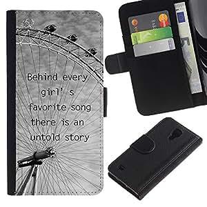 Planetar® Modelo colorido cuero carpeta tirón caso cubierta piel Holster Funda protección Para Samsung Galaxy S4 IV I9500 ( Noria de Londres Nubes grises de ojos Negro Blanco )