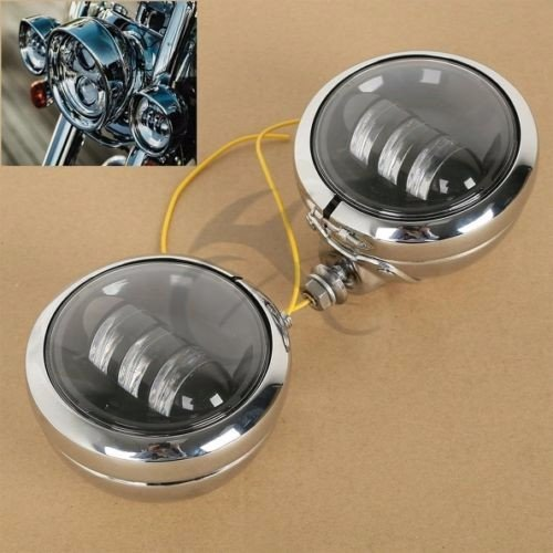 """Black 4.5/"""" LED Auxiliary Spot Passing Fog Lights Lamps Housing Bucket For Harley"""