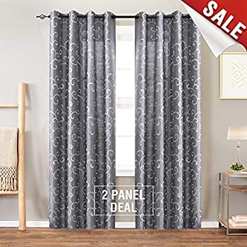 Amazon Com Swirl Embroidered Semi Sheer Curtains For