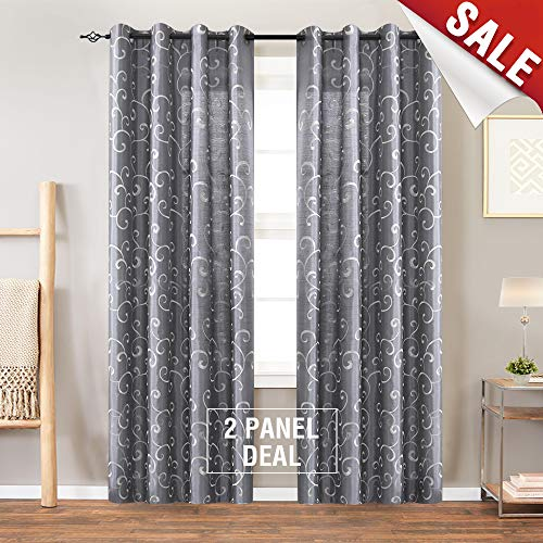 Swirl Panel - Swirl Embroidered Semi Sheer Curtains for Living Room 95 inches Long Embroidery Curtain Panels for Bedroom Faux Silk Window Treatment Set Grommet Top 2 Panels, Gray