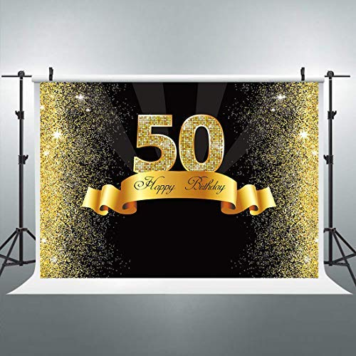 Riyidecor 50th Birthday Backdrop Litter Gold and Black