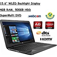 HP 15.6' HD WLED Backlit Display Laptop, AMD A6-7310 Quad-Core APU 2GHz, 4GB RAM, 500GB HDD WiFi, DVD+/-RW, Webcam, Windows 10, Black
