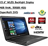 "2017 HP 15.6"" HD WLED Backlit Display Laptop, AMD A6-7310 Quad-Core APU 2GHz, 4GB RAM, 500GB HDD WiFi, DVD+/-RW, Webcam, Windows 10, Black"