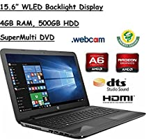 "HP 15.6"" HD WLED Backlit Display Laptop, AMD A6-7310 Quad-Core APU 2GHz, 4GB RAM, 500GB HDD WiFi, DVD+/-RW, Webcam, Windows 10, Black"