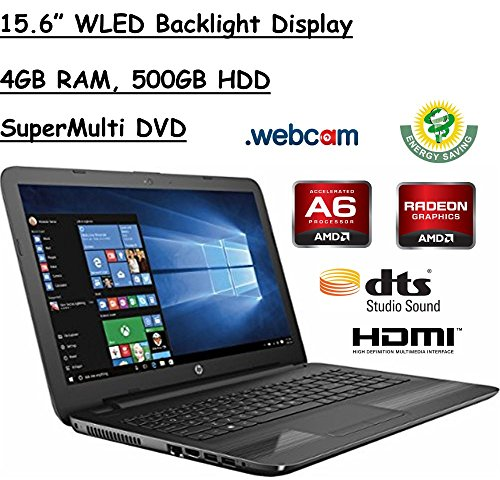 Hp 15 6  Hd Wled Backlit Display Laptop  Amd A6 7310 Quad Core Apu 2Ghz  4Gb Ram  500Gb Hdd Wifi  Dvd   Rw  Webcam  Windows 10  Black