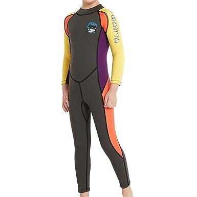 f5c657aedee6ea GWELL Jungen Mädchen Kinder Neoprenanzug 2.5MM Neopren Langarm  Wäremehaltung UV-Schutz Tauchanzug Badeanzug für