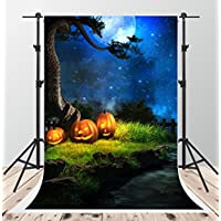 5x7ft Halloween Night Photography Backdrops Blue Sky Moon Background Photo Pumpkin Backdrop Booth