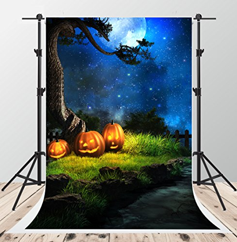 5x7ft Halloween Night Photography Backdrops Blue Sky Moon Background Photo Pumpkin Backdrop (Halloween Photo Booth Design)