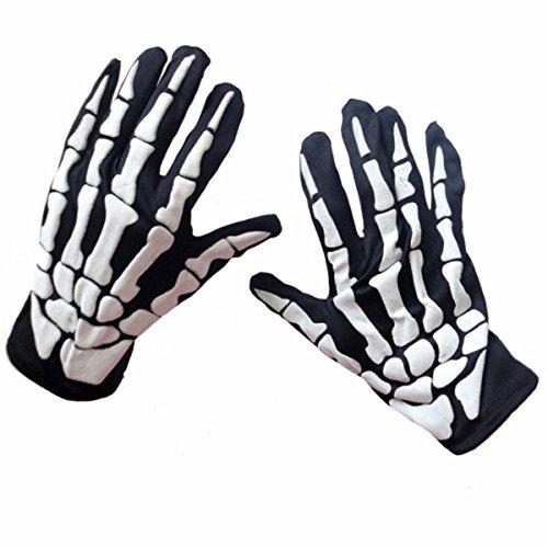 BESTOYARD Halloween Skeleton Gloves Skull Claw Bone Skeleton Goth Racing Biker Full Gloves Unisex (Black) -