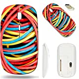 MSD Wireless Mouse White Base Travel 2.4G Wireless Mice with USB Receiver, Noiseless and Silent Click with 1000 DPI for notebook, pc, laptop, computer, mac book design: 31670719 Rubber bands colored b