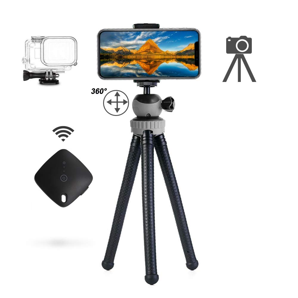 Flexible Tripod and 12'' Phone Tripod with Wireless Remote Shutter, Tripod for iPhone, Android Phone, Camera, Sports Camera GoPro - Waterproof