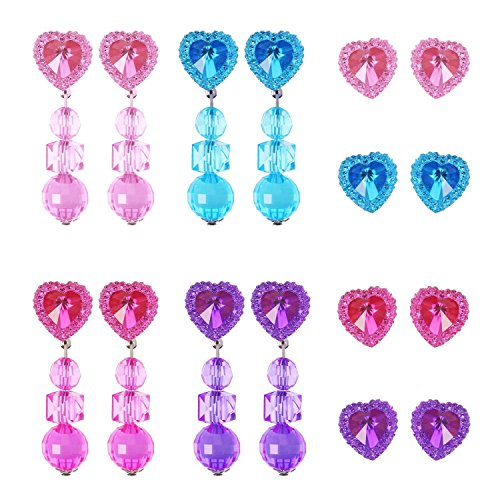 Hicarer 8 Pairs Clip-on Earrings Heart-Shaped Girls Play Earrings and 8 Pairs Earring Pad for Play Princess