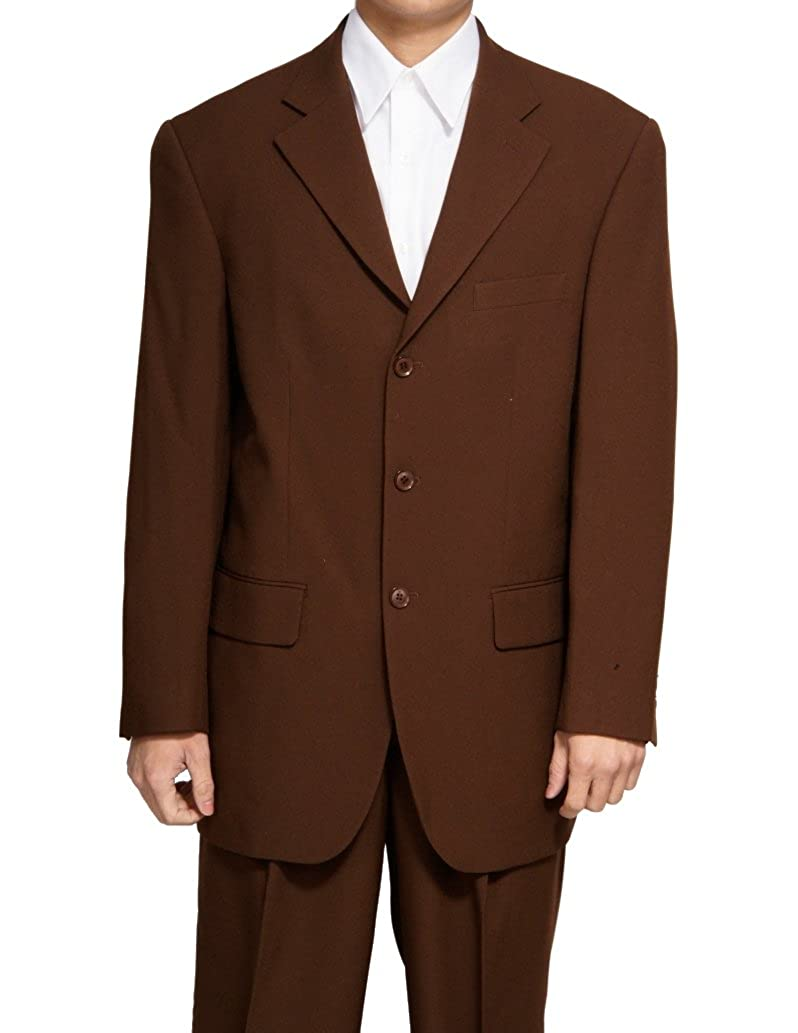 New Men's 3 Button Single Breasted Brown Dress Suit 3b-brown