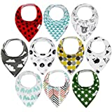 10-Pack Baby Bandana Drool Bibs for Drooling and Teething...
