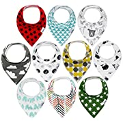 10-Pack Baby Bandana Drool Bibs for Drooling and Teething, 100% Organic Cotton, Soft and Absorbent, Hypoallergenic Unisex Bibs for Baby Boys & Girls - Baby Shower Gift Set (Multi Color)