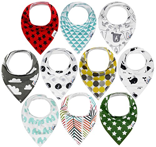 10-Pack Baby Bandana Drool Bibs for Drooling and Teething, 100% Organic Cotton, Soft and Absorbent, Hypoallergenic Unisex Ana Baby Bibs for Baby Boys & Girls - Baby Shower Gift Set - Cloth Burp Newborn Toddler