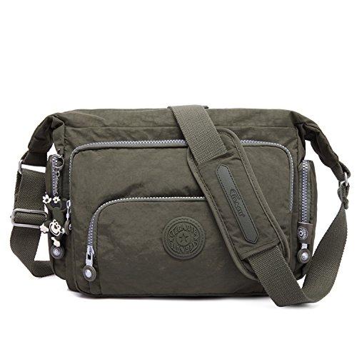 Foino Kuriertasche Damen Umhängetasche Lässige Schultertasche Mode Sporttasche Design Reisetasche Leicht Taschen Büchertasche Seitentasche für Mädchen Vintage Messenger Bag Grün 1