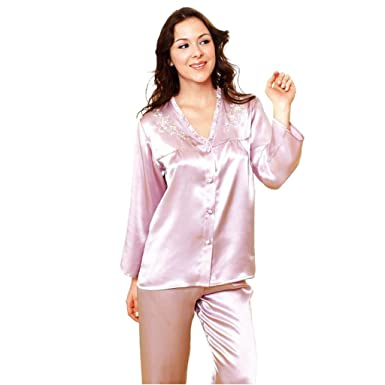 9da9b12235 Sleepwear Forever Angel Women s Pure Silk Pajamas Luxury PJs Gift - Purple  - Small