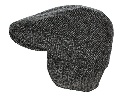 John Hanly Men's Irish Flat Cap Wool Tweed Grey Ear Flap Made in Ireland Large ()