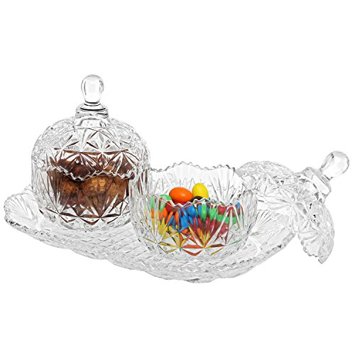 Design Crystal - MyGift 3-Piece Clear Glass Crystal Design 8 oz Sugar Bowls Set & Tray/Decorative Candy Dishes