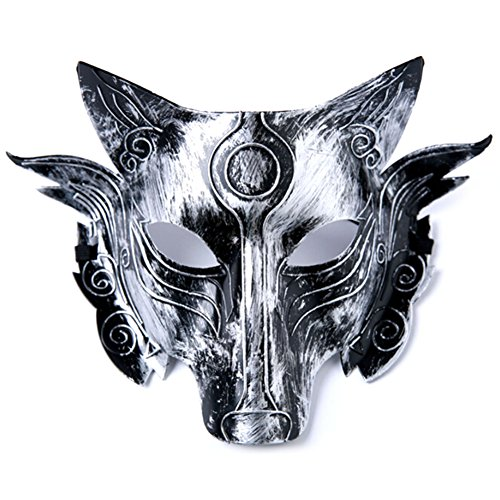 Masquerade Wolf Mask (Detroital Halloween Wolf Head Mask Full Face for Men Women for Cosplay or Masquerade Retro Silver)
