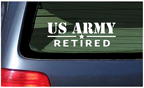 Decal Retired (US Army Retired - White Vinyl Window Sticker Decal USA United States)