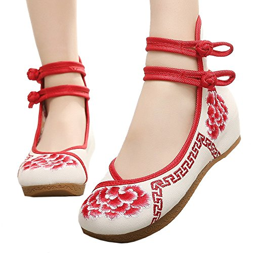 Old Slipsole Shoes red 40 Embroidered Beijing Cloth RRwqax1PTn