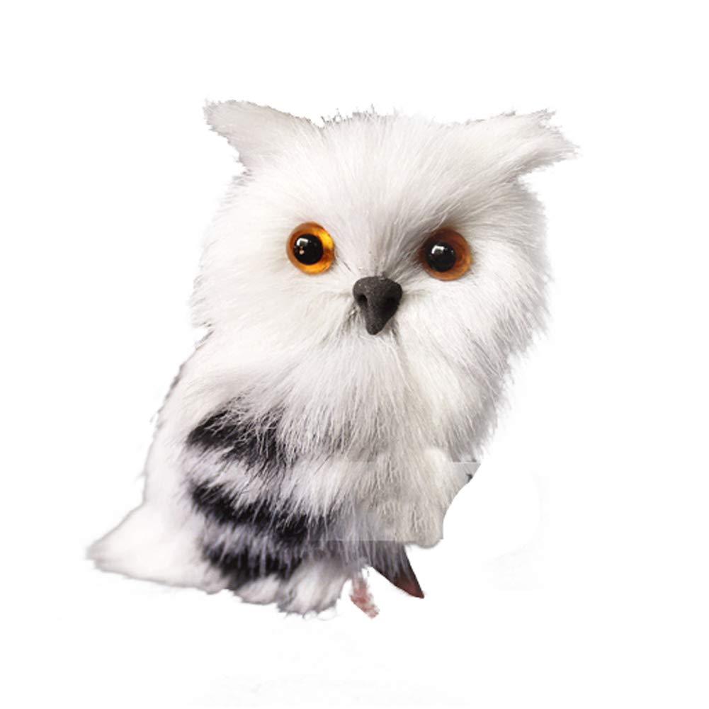 Ouken 1pc Mini Simulation Peluche Hibou Jouet Petit Animal Peluche Ornements pour la décoration de Voiture à la Maison