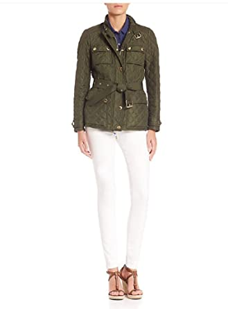 9bf6e1de4ab Amazon.com  Burberry Brit Woman s RANGEMOORE Diamond Quilted Belted Jacket  in Olive  Clothing