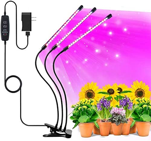 Grow Lights for Indoor Plants Full Spectrum, LED Plant Growing Lamps Bulbs 30W Tri Head Timing for Seed Starting Succulent Plants Growth, with Auto ON Off 3 9 12H Timer, 5 Dimmable Brightness