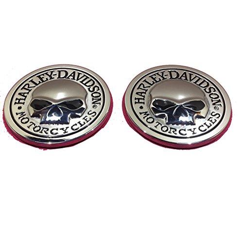 Two Metal Willie G Skulls Harley Davidson Motorcycle Emblem Badge Decal