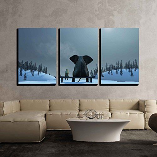 wall26 - 3 Piece Canvas Wall Art - Elephant and Dog at Christmas Night - Modern Home Decor Stretched and Framed Ready to Hang - 24