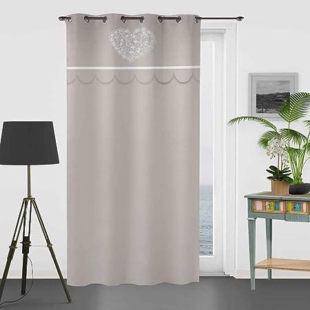 Soleil docre Cortina Bordada de algodón 135 x 250 cm Secret: Amazon.es: Hogar